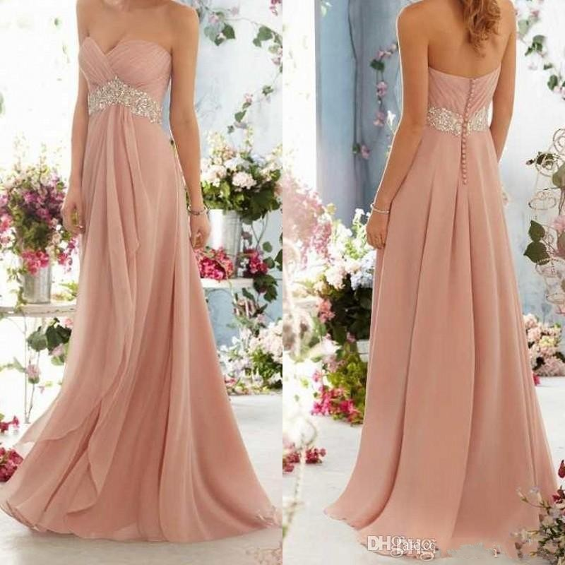 Blush Pink Bridesmaid Dress 2015 Long Chiffon Sweetheart
