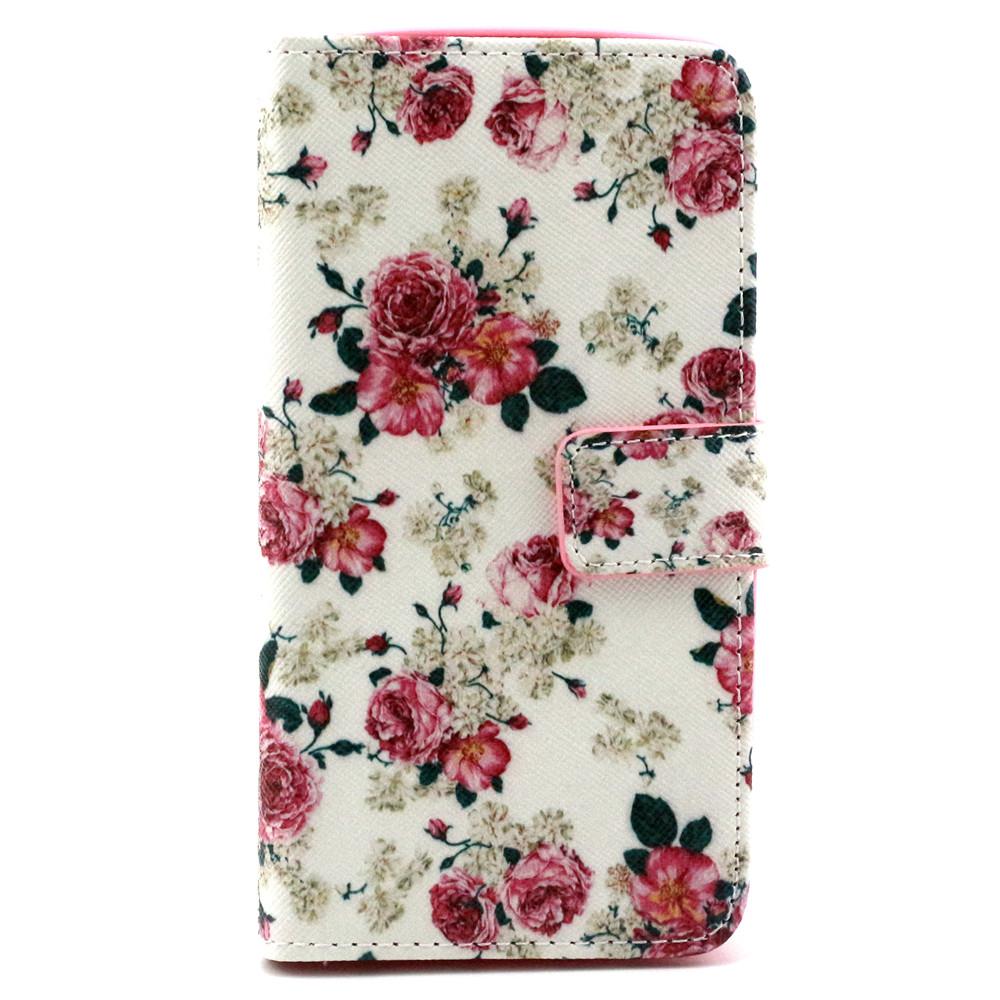Qiaogle Folio PU Leather Case - F051 / White Mini Rose - for Microsoft Lumia 535 Wallet Cover(China (Mainland))