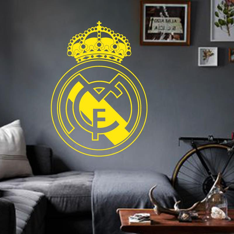 Art Design home decoration Vinyl beautiful football club mark flag Wall Sticker removable house decor PVC soccer sign decal(China (Mainland))