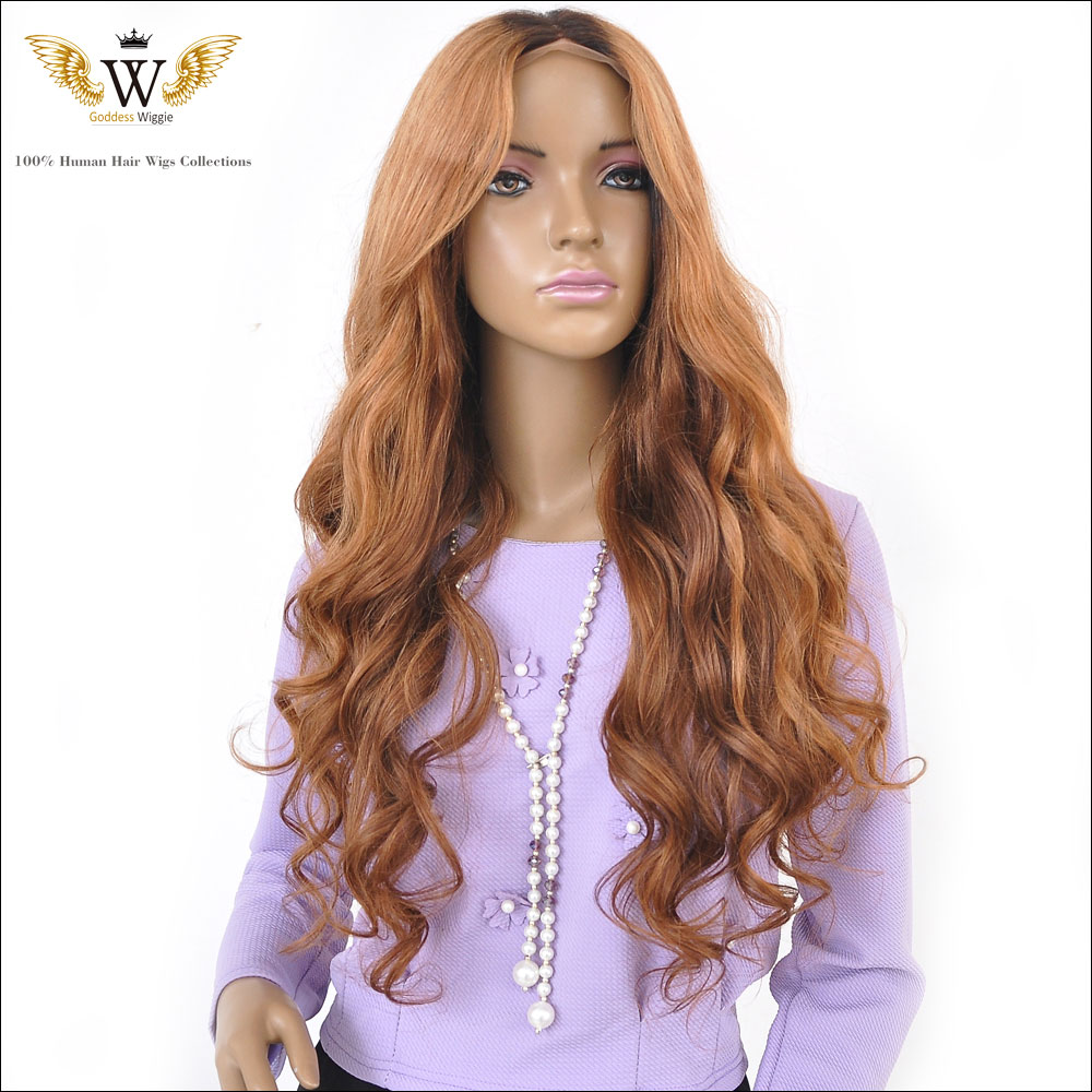 Top Beauty 130 Density Wavy Two Toned 1B 27 U Part Wig, Central Parting Brazilian Human Hair Wig Free Shipping <br><br>Aliexpress