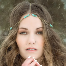 VintageTurpuoise Boho Hair Accessaries Indian Tiaras Antique Bronze Forehead Hairband Head Chain Hair Jewelry For Women CF153