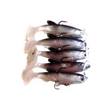 New 5Pcs 8.5cm 14g Soft Bait Lead Head Fish Lures Bass Fishing Tackle Sharp Treble Hook T Tail(China (Mainland))
