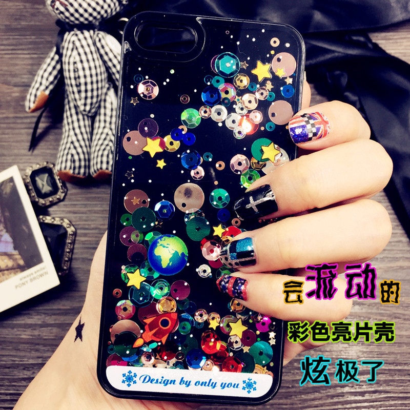Cartoon Starry Sky Space Ship Glitter Star Flowing Water Liquid Funda Case For iPhone 5 5s SE 6 6s 6plus 6s Plus Back Cover Capa(China (Mainland))