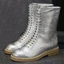 hot Sales women's genuine leather Motorcycle ankle boots 2016 Brand Warm snow boot autumn winter flat High-top shoes Luxury Gold(China (Mainland))