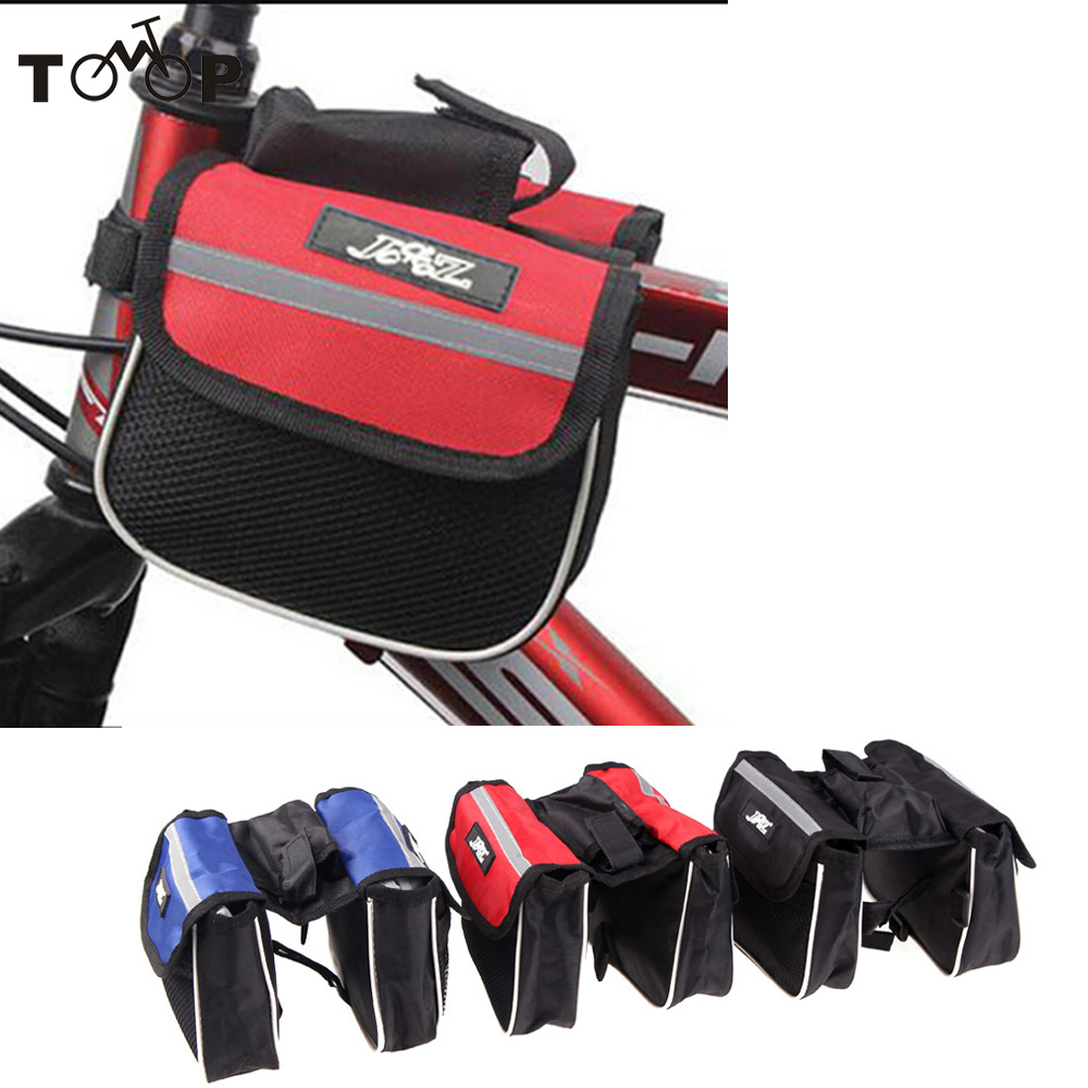 Outdoor Sports Cycling Mountain Road MTB Bicycle Bike Frame Saddle Bag Pannier Front Tube Bags Double Sides Red/Blue/Black - TomTop store