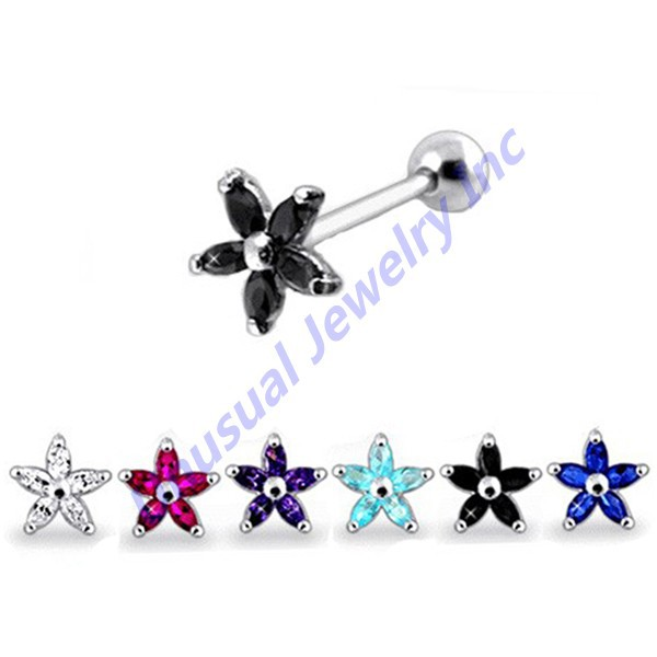 Unusual 2015 Multicolor CZ Gems Flowers Tragus Cartilage Helix Straight Barbell Stud Earrings Piercing Jewelry 6pcs/lot(China (Mainland))