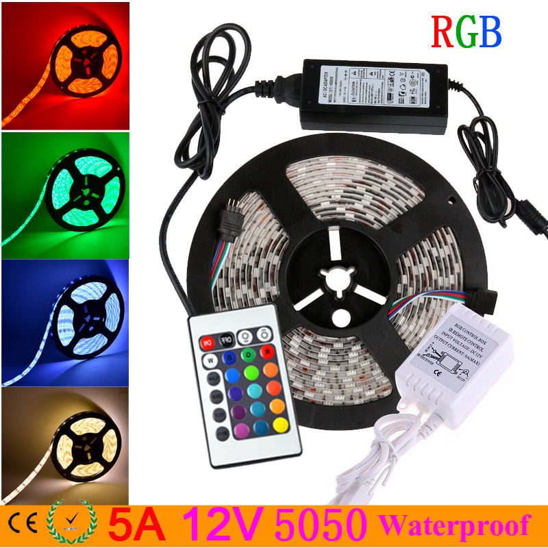 rgb led strip 5050 waterproof 5M 300LEDs Flexible Led Tape fita de luz ruban + 24Key IR Remote Controller+12V 5A Power Adapter(China (Mainland))