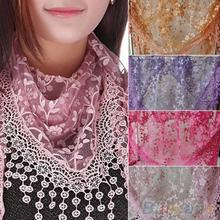 New Brand design Summer Lady Lace Scarf Tassel Sheer Metallic Women Triangle Bandage Floral scarves Shawl(China (Mainland))