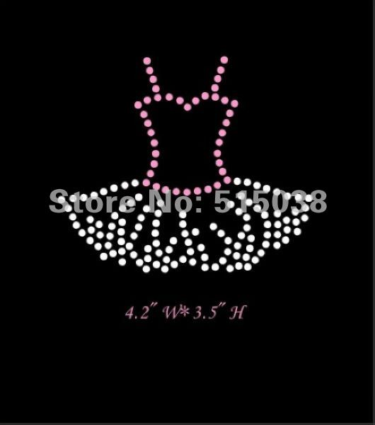Free Shipping hot fix rhinestone transfers Ballet Tutu design ,MOQ(30pcs) &custom design is welcome(China (Mainland))
