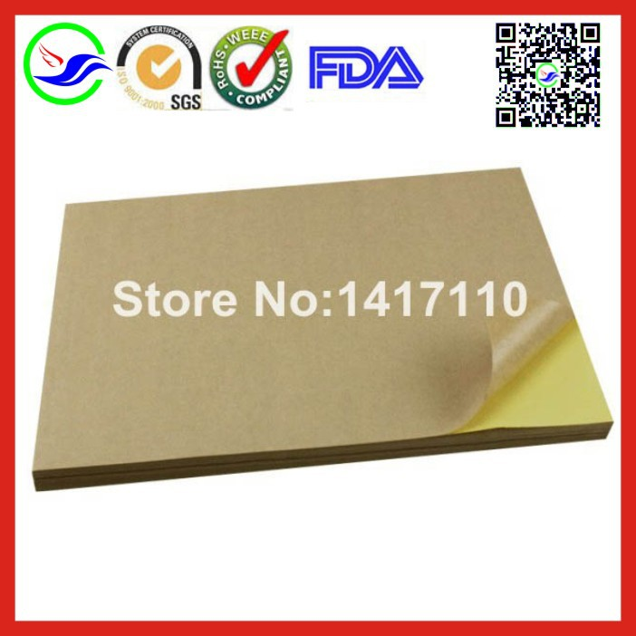 100 sheets/pack A4 self adhesive brown kraft printing copy sticker label Paper For Laser Inkjet Printer free shipping(China (Mainland))
