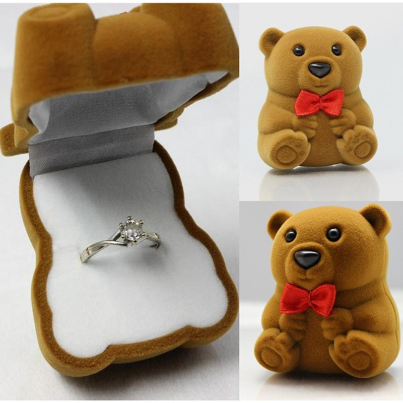 2016 New Arrival Cute Bear Jewelry Ring Storage Boxes Wedding Jewelry Ring Necklace Display Gift Case(China (Mainland))