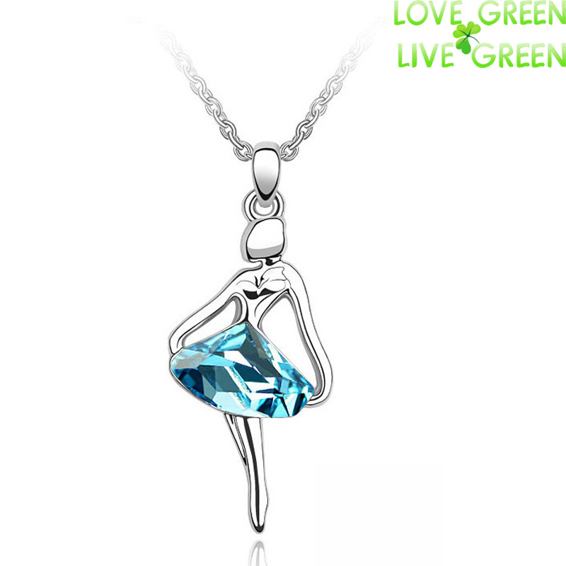 Free Shipping Hotselling Wholesales 18K GP Austrian Crystal Ballet dancing Girl Pendant Necklace fashion crystal Jewelry