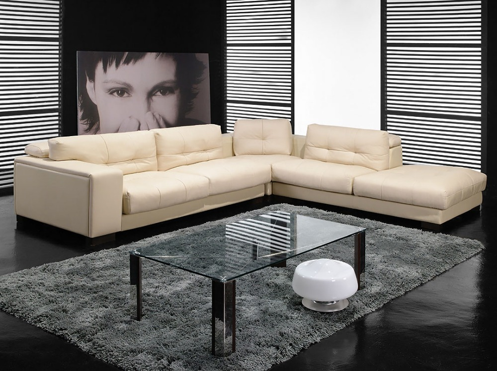 designer modern top graded cow genuine italy leather sofa sectional corner living room home furniture free shipping to port(China (Mainland))