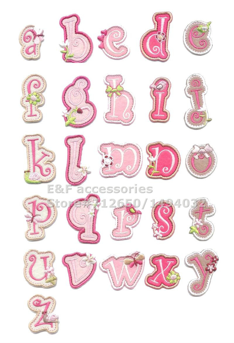 new arrival 26 pcs alphabet letters pink embroidered patch iron on applique ts garment embroidery patch