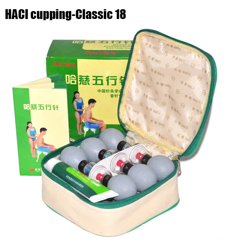 HACI 18 cups Magnetic Acupressure Magnetic Suction Cupping Set Chinese Medical Vacuum Cupping Massage therapy Body Beauty Relax(China (Mainland))