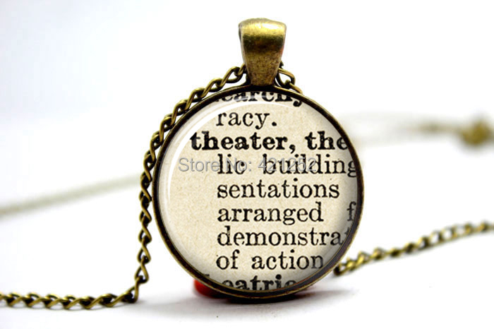 10pcs/lot Dictionary Necklace - Theater Pendant Vintage Bronze Necklace - Definition Necklace Picture Jewelry - Photo Pendant(China (Mainland))