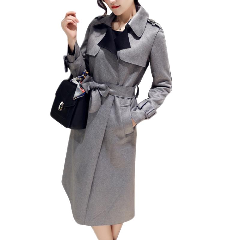 2015 New Fashion Women Suede Slim Long Trench Coat Casual Plus Size Trench Coat For Women Gabardina Casaco Feminina Trench CT123