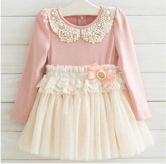 Guangdong Best Quality Spring Fall Children Dress Korean Pearl Pure Cotton Net Yarn Girls Lace Princess Kid's Dresses QZ61 - Baby Kid Monopoly Shop store