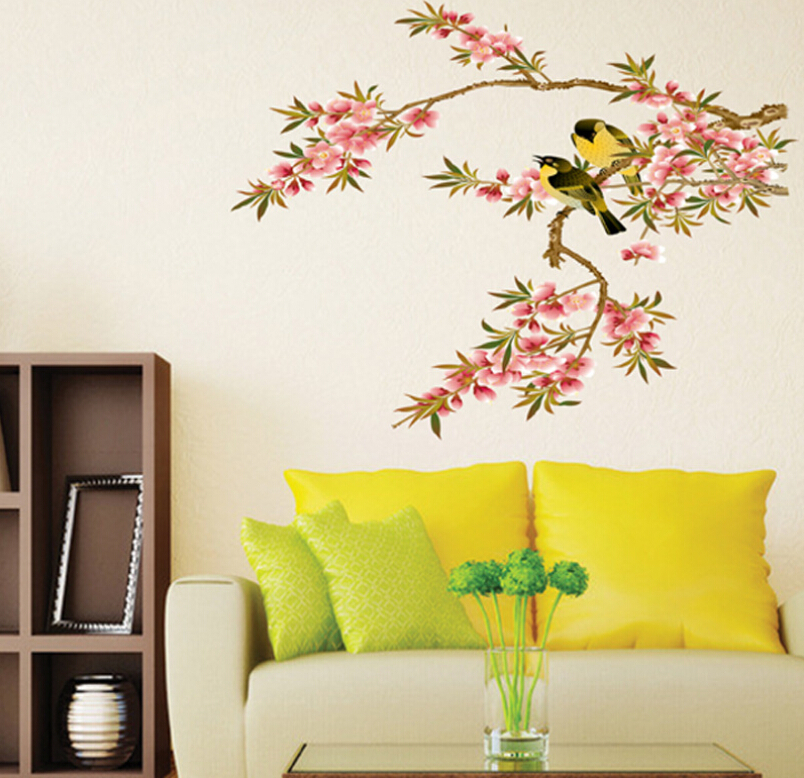 Decorative Wall Paper Art Sticker : Aliexpress buy removable pvc diy flower bird wall