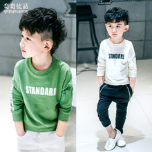 The boy wear long sleeved sweater spring 2016 new Y1633 Korean alphabet T-shirt children coat(China (Mainland))