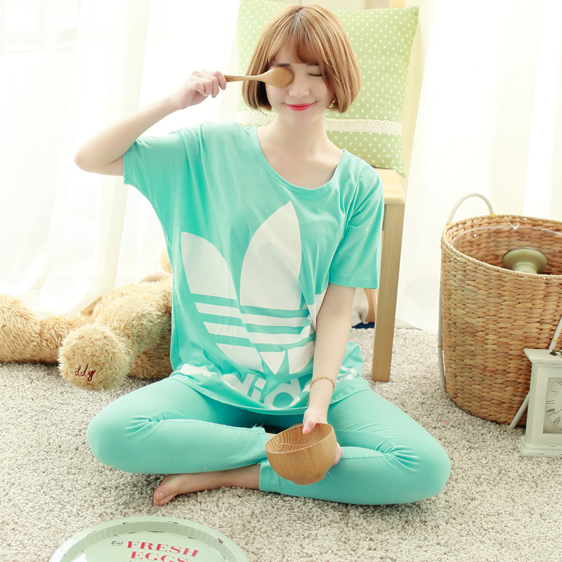 2015 Korea Pajamas For Women Ladies pyjamas PINK Cotton Leaves Short-Sleeved Pants Lounge Sleep Women Pajama Sets(China (Mainland))
