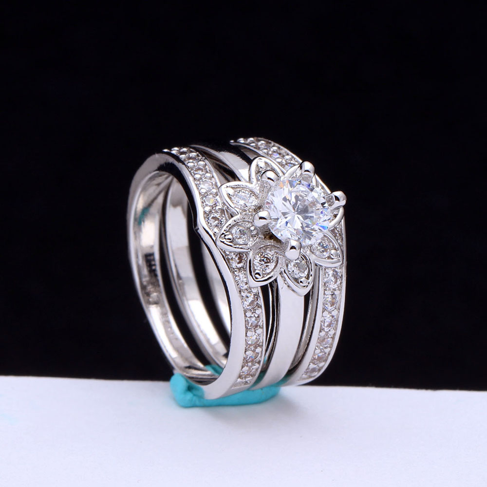 White AAA Cz Zircon Flower 3pc Women Wedding Ring Sets Luxury Lovers Gift New