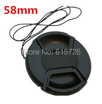 Free shipping 58mm center pinch Snap-on cap cover LOGO for canon 58 mm Lens