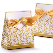 New Hotsale Promotion 50x Boite a Dragee Accessoire Mariage Decoration Table Bapteme Fete Fleur Dore
