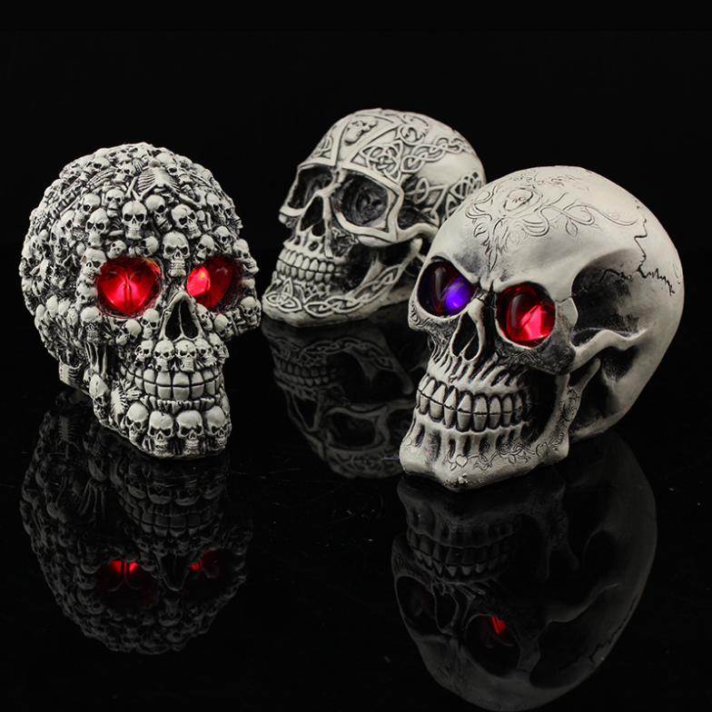 Glowing Skull Halloween Decoration Creative Toy Funny Spoof Horror Props Resin Skull Ornaments Halloween Masquerade Decoration(China (Mainland))
