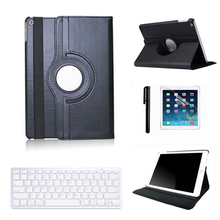 Black Cover Case For iPad 2 3rd 4th Bluetooth Keyboard with PU Leather Stand Case Cover And Screen Protector Stylus Pen FW1S(China (Mainland))