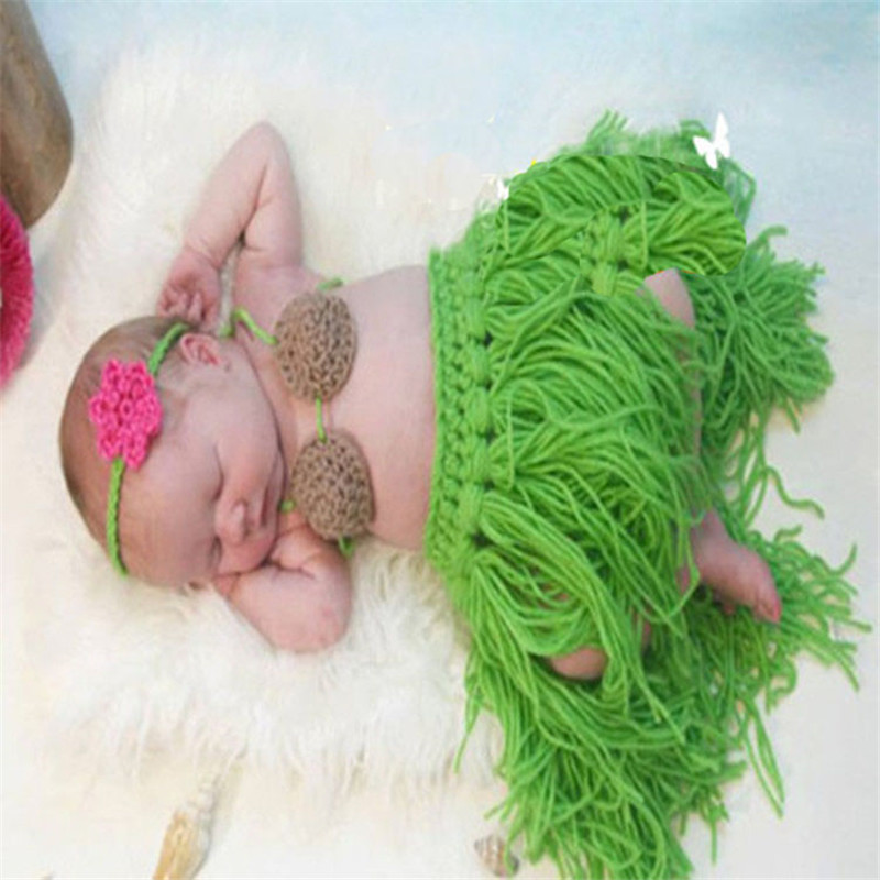 2015 Newborn Baby photography props Infant Animal Knitting Crochet Costume baby Soft Adorable Grass Skirt Modeling Clothes(China (Mainland))