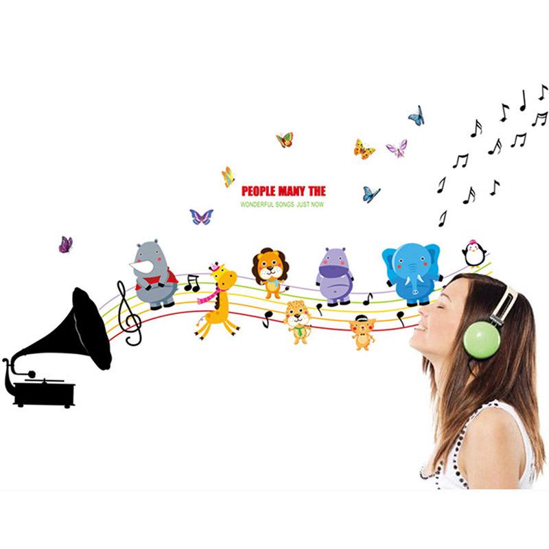 Elefante jirafa nota De la música del bebé De la historieta niños niños decoración pared De vinilo pegatinas Mural Art Sticker Decal Adesivo De Parede(China (Mainland))