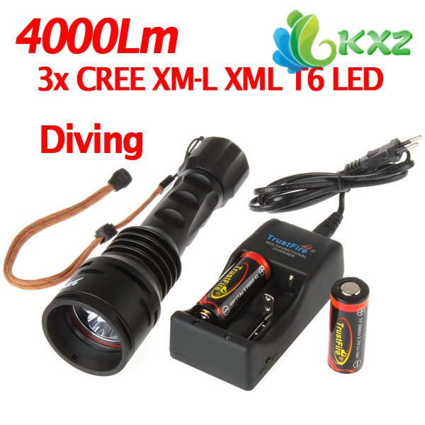Фотография TrustFire 3X CREE XM-L T6 LED 4000Lm Diving Flashlight Torch+Battery+Charger