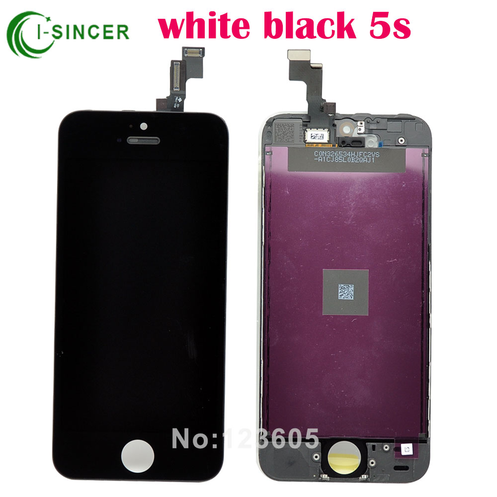1/PCS For iPhone 5S Black LCD display with touch screen digitizer Assembly Black,White Free shipping(China (Mainland))