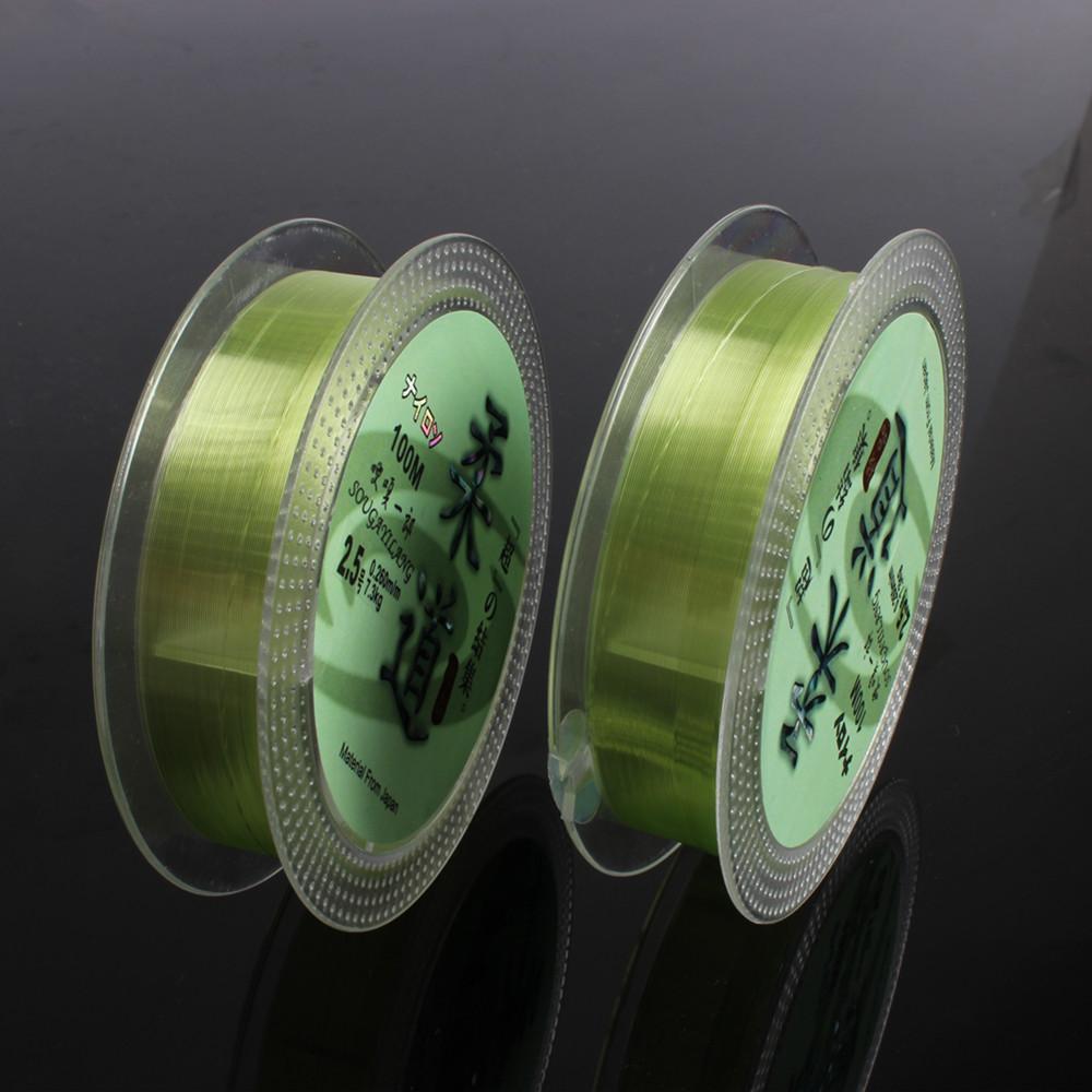 Hot Sale Transparent Fluorocarbon Fishing Line Green 100m 0.6#/0.128mm~7#/0.45mm Fishing Line Carp Boat Rock Fishing Line(China (Mainland))
