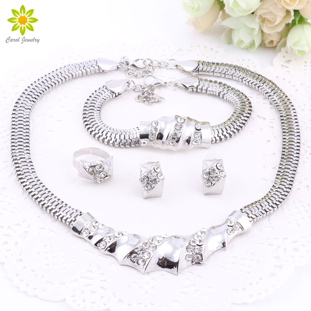 African Silver Plated Charming Fashion Romantic Bridal Fashion Necklace Crystal Vintage Women Costume Jewlery Set(China (Mainland))