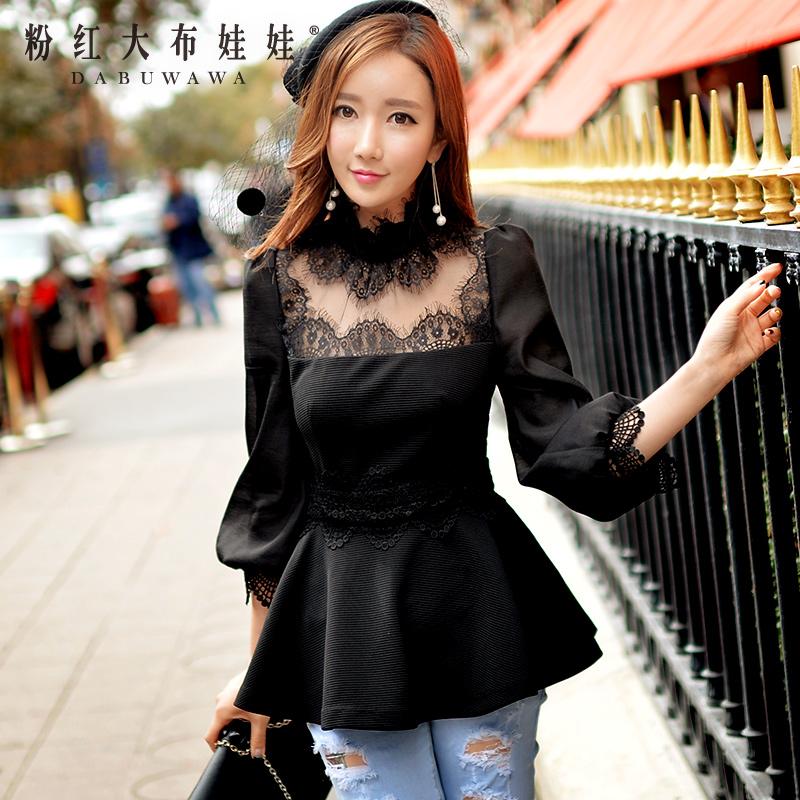 Long sleeved shirt female pink doll in the spring of 2016 women's new palace lantern sleeve shirt collar pendulum powder