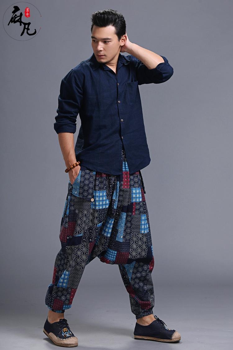 #2809 2017 Spring Printed Linen cotton Harajuku Sarouel homme Soft Loose Hip hop dance pants Men joggers Sarouel Pantalon homme