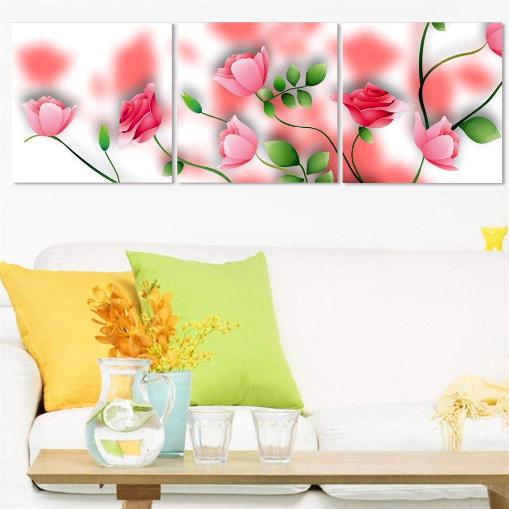Modern 3 Plane Painting On The Wall Pink Flower Home Decor Modular Pictures Print Painting Canvas Art Wedding Decor(Unframed)(China (Mainland))