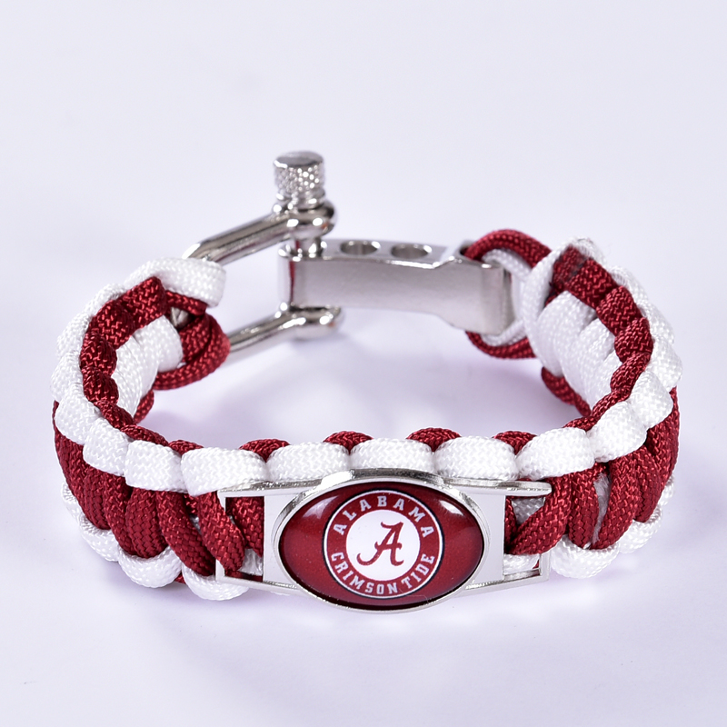 Alabama Crimson Tide Custom Paracord Bracelet NCAA College Football Charm Bracelet Survival Bracelet, Drop Shipping! 6Pcs/lot!(China (Mainland))