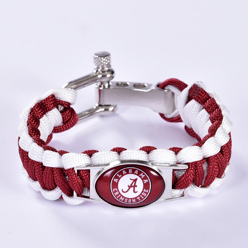 Alabama Crimson Tide Custom Paracord Bracelet NCAA College Football Charm Bracelet Survival Bracelet, Drop Shipping! 6Pcs/lot!(China (Mainland))