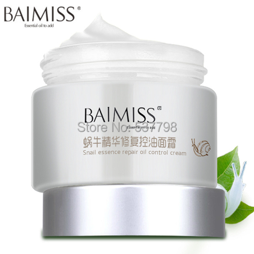 BAIMISS Nature Snail EssenceRepair Oil Control Cream Moisturizing Anti-Aging Cream For Face Care Acne Superfine Skin Care(China (Mainland))