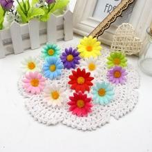 10pcs Small Silk Sunflower Handmake Artificial Flower Head Wedding Decoration DIY Wreath Gift Box Scrapbooking Craft Fake Flower(China (Mainland))