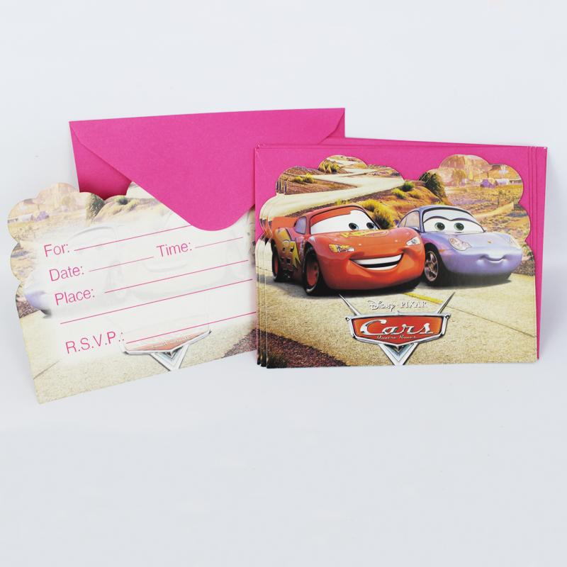 Wholesale Kid Boy Girl Disney Cars Happy Birthday Party Decoration Kids Supplies Favors Invitation Cards 12pcs/lot(China (Mainland))