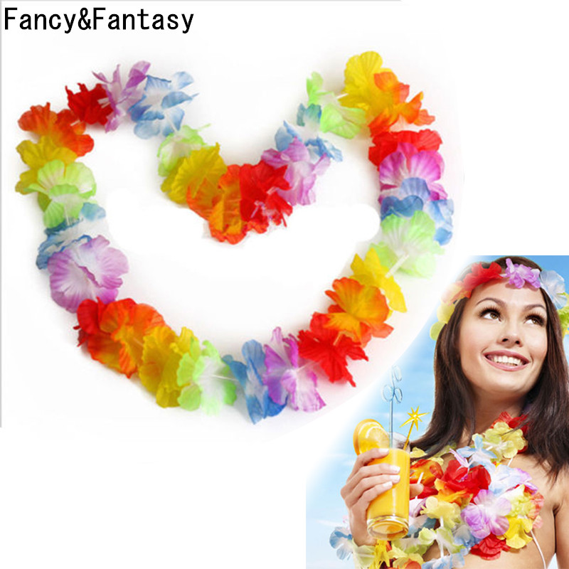 Fancy&Fantasy 10Pcs/Lot Hawaiian Style Colorful Leis Beach Theme Luau Party Garland Necklace Holiday Cool Decorative Flowers(China (Mainland))