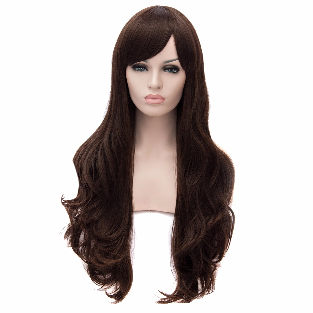 Natural Black Color Long Side Fringe Women Big Wavy Curly Fashion Full Wigs<br><br>Aliexpress