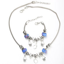 6 Colors Hand of Fatima Necklace Bracelet Set Fine Silver Bead Hollow Chain Beaded Bracelet With Hook DIY Making Pendant Jewelry(China)