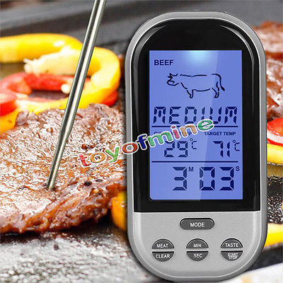 LCD Backlight Wireless Meat Thermometer Long Range Digital Kitchen Thermometer for Oven Remote Monitor BBQ Grill Cooking 40M-50M(China (Mainland))