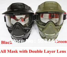 High qiality Tactical military scctt anti fog lens face double mask new paintball Airsoft  Games Free Shipping