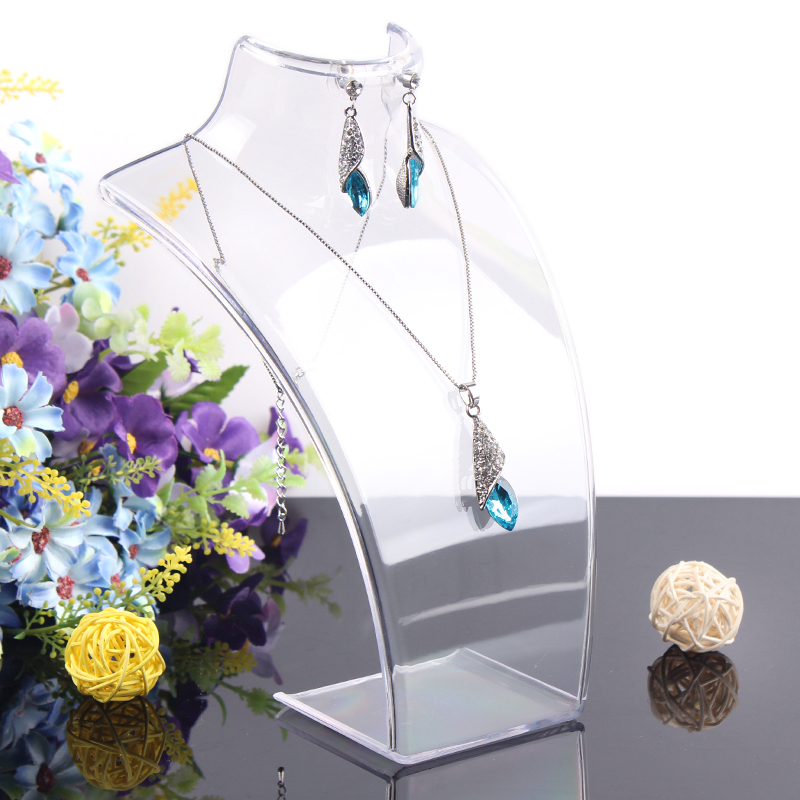 2014 New and Hot sale Clear color 20*13.5cm Mannequin Necklace Jewelry Pendant Display Stand Holder Show Decorate Retail()